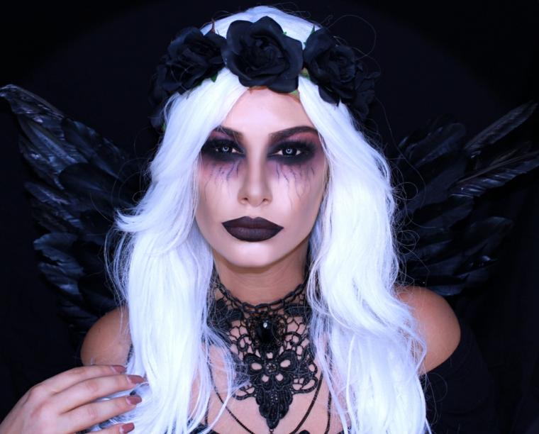 trucchi-per-halloween-viso-donna-angel-rossetto-nero-smokey-eye-ali-nere