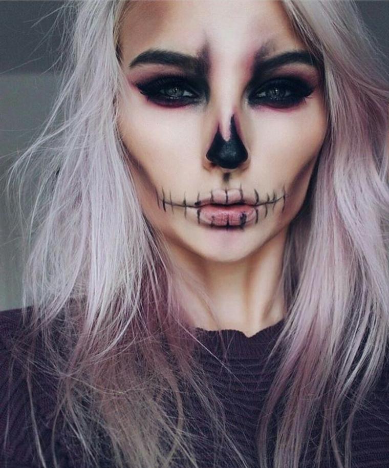 trucchi-semplici-per-halloween-donna-countourning-bocca-cucita- Trucco  Halloween  idee ... 843f8c797853