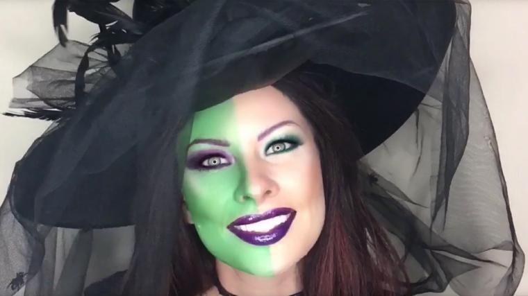 trucco-da-strega-per-halloween-metà-faccia-colore-blu-cappello-tulle-nero