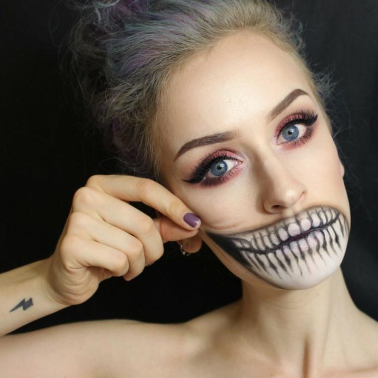 trucco-donna-halloween-bocca-denti-scheletro-unghie-colorate-smalto-ombre-occhi
