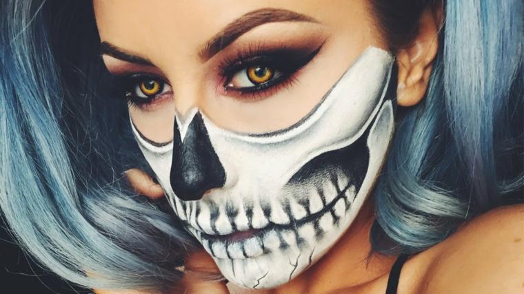 trucco-donna-halloween-scheletro-viso-capelli-colore-grigio-bianco