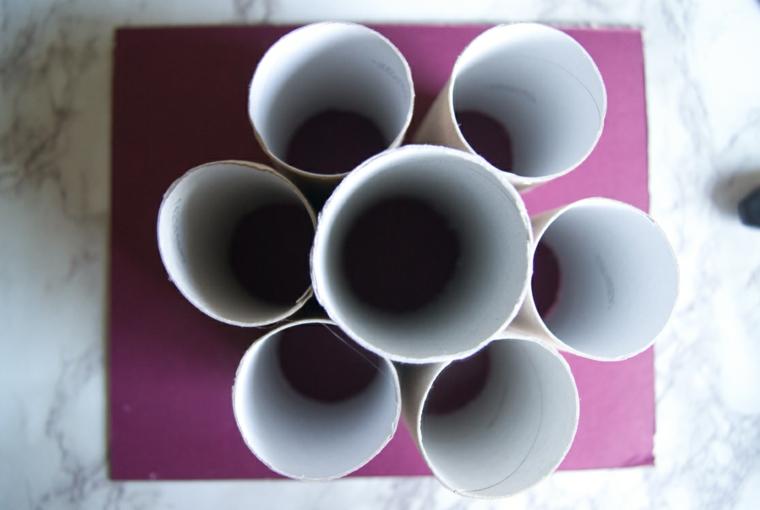 Organizer da scrivani con rotoli di carta igienica, tutorial con rotoli di carta