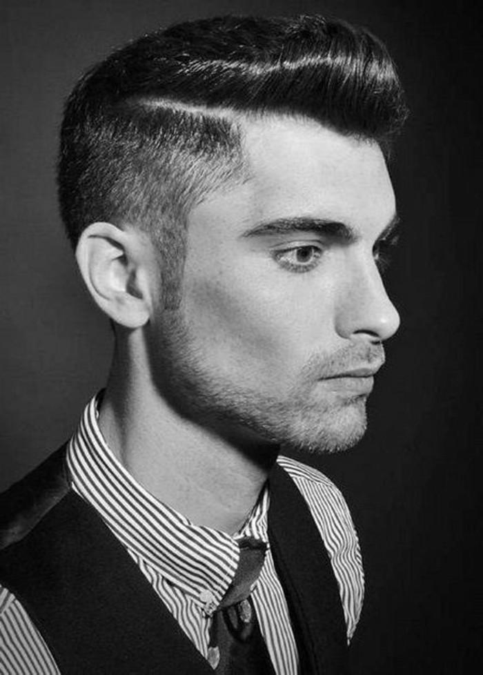 uomo-foto-profilo-capelli-taglio-rasato-da-una-parte-pompadour-laterale-barba-camicia-cravatta