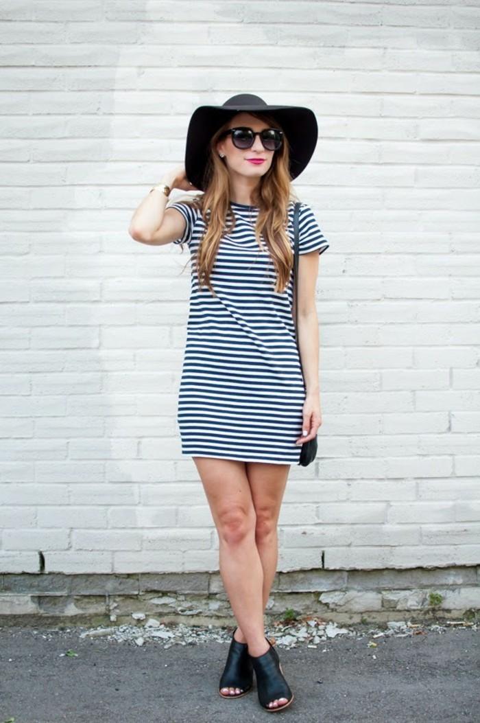 abbigliamento-navy-donna-vestito-basic-maniche-corte-scarpe-sandali-neri-pelle-cappello-occhiali-da-sole