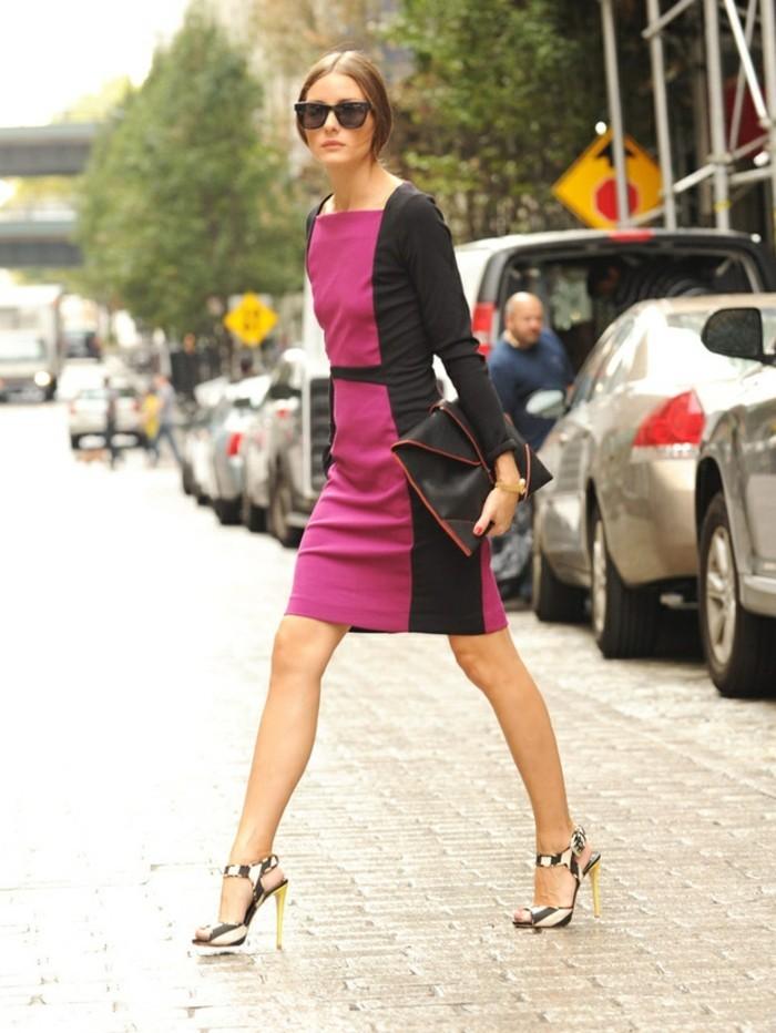 abbigliamento-olivia-palermo-vestito-elegante-colore-viola-scarpe-tacchi-alti-colore-argento-capelli-raccolti-occhiali-da-sole