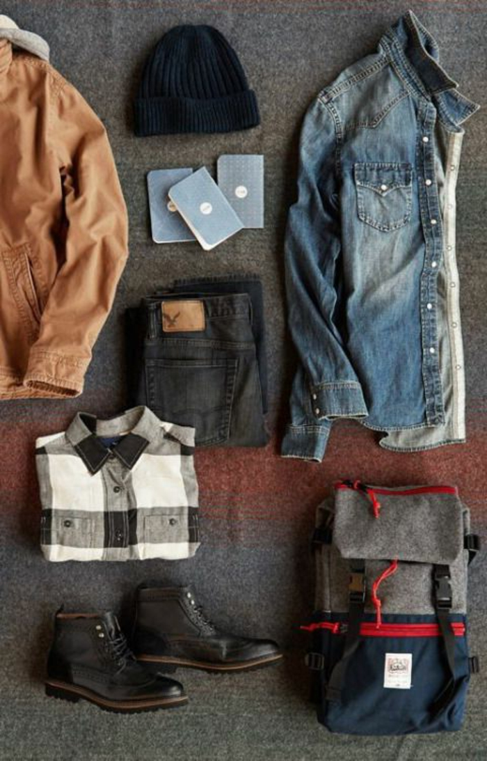 abbigliamento-uomo-vestiti-autunnali-camicia-giacca-pelle-jeans-pantaloni-cappello-nero-zaino-scarpe