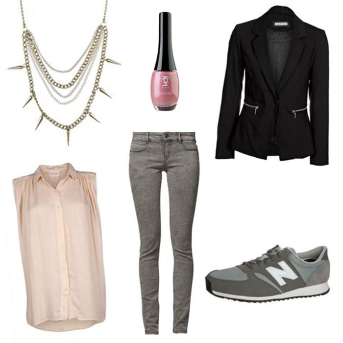 abbinamento-vestiti-scarpe-da-ginnastica-new-balance-blazer-nero-smalto-collana-camicetta-color-rosa-jeans-slim-grigi