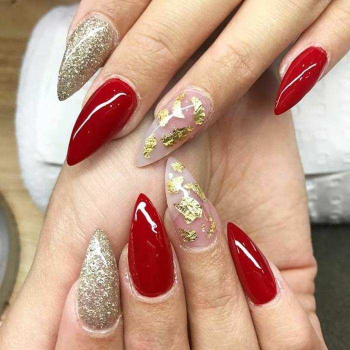 accent-nail-unghie-a-punta-smalto-rosso-ultra-luminoso-glitter-tre-idee-decorazione