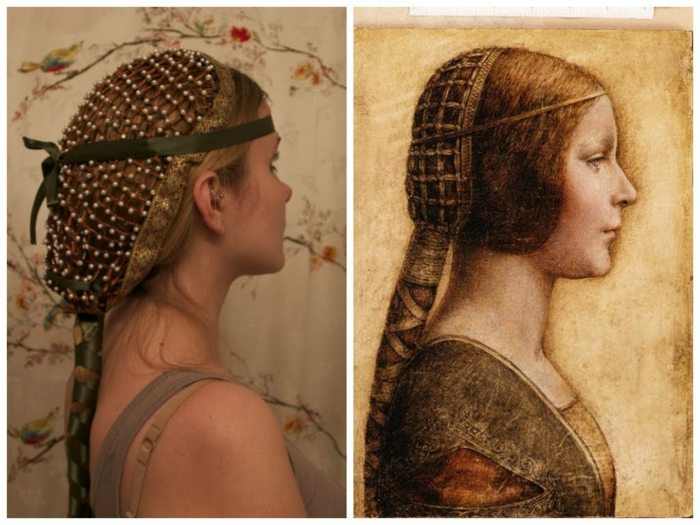 acconciatura-femminile-ispirazione-medievale-cuffia-perline-dorate-treccia-nastro-verde