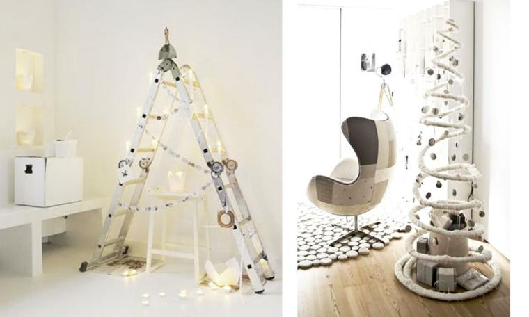Fai da te creativo con due alberi di Natale particolari con struttura in legno e una a spirale