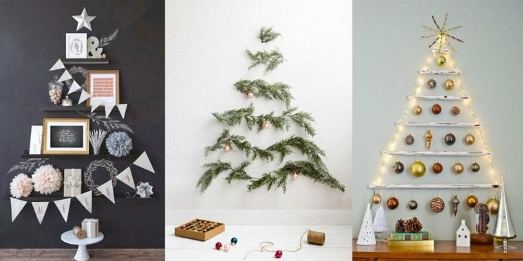 Addobbi natalizi per degli alberi di Natale originali con luci, ghirlande e rami di abete