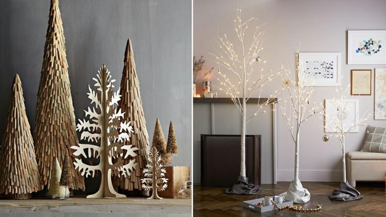 Due proposte per degli alberi di Natale originali e decorazioni con catene di luce