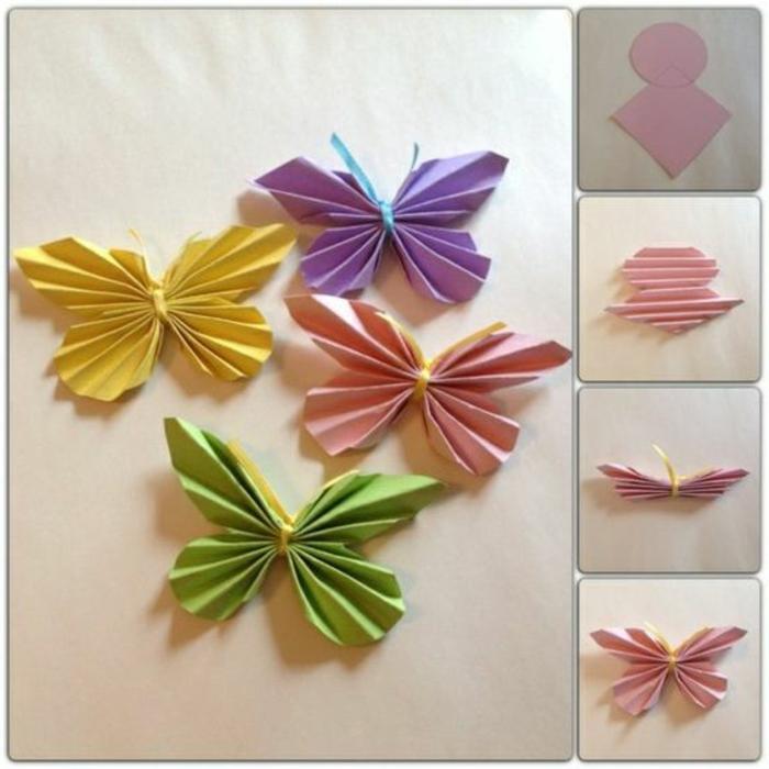 addobbi-fai-da-te-origami-carta-colorata-rosa-giallo-verde-viola-farfalle-forma