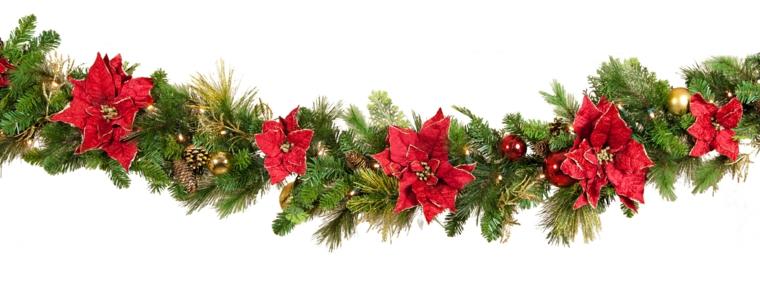decorazioni natalizie, una proposta in stile tradizionale con stelle di natale rosse