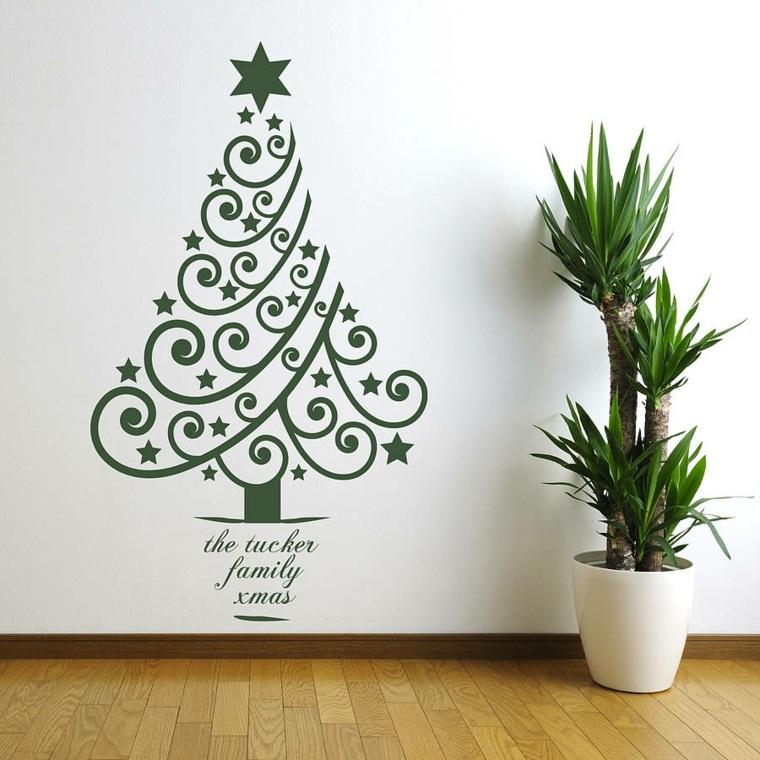 Sticker murale a forma di un albero di Natale di colore verde, scritta personalizzata come aggiunta