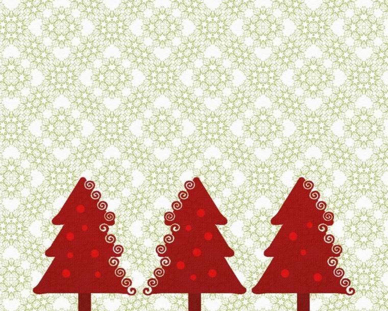 biglietto auguri natale, un'idea raffinata con degli alberelli rossi su sfondo bianco e grigio