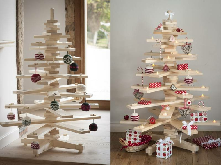 1001 idee per alberi di natale originali tutorial fai - Decorazioni natalizie legno fai da te ...