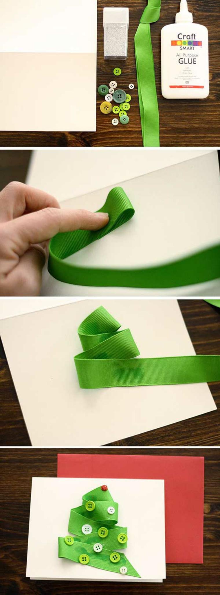 auguri di natale, i vari passaggi per creare con una fettuccia verde e dei bottoni un albero di natale