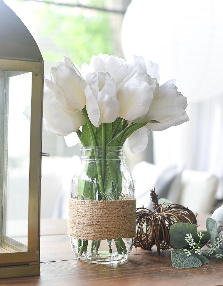 barattoli di vetro decorati con spago filo canapa vaso per fiori dai petali bianchi
