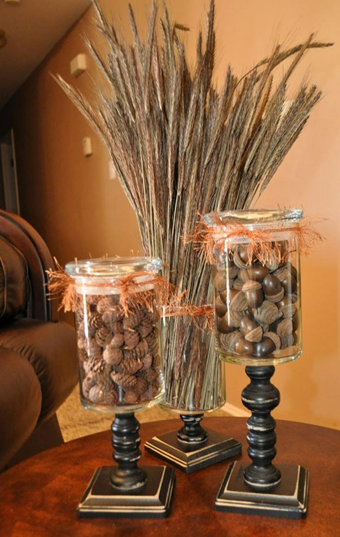 barattoli-di-vetro-decorati-soprammobili-fai-da-te-rustici-base-legno-interno-ghiande-spighe-grano