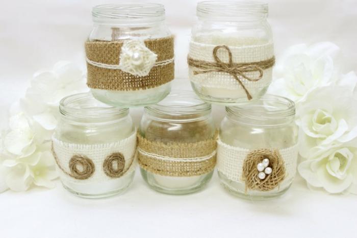 barattoli-in-vetro-idea-decorazioni-fai-da-te-stoffa-beige-stile-rustico-applicazioni-bianche