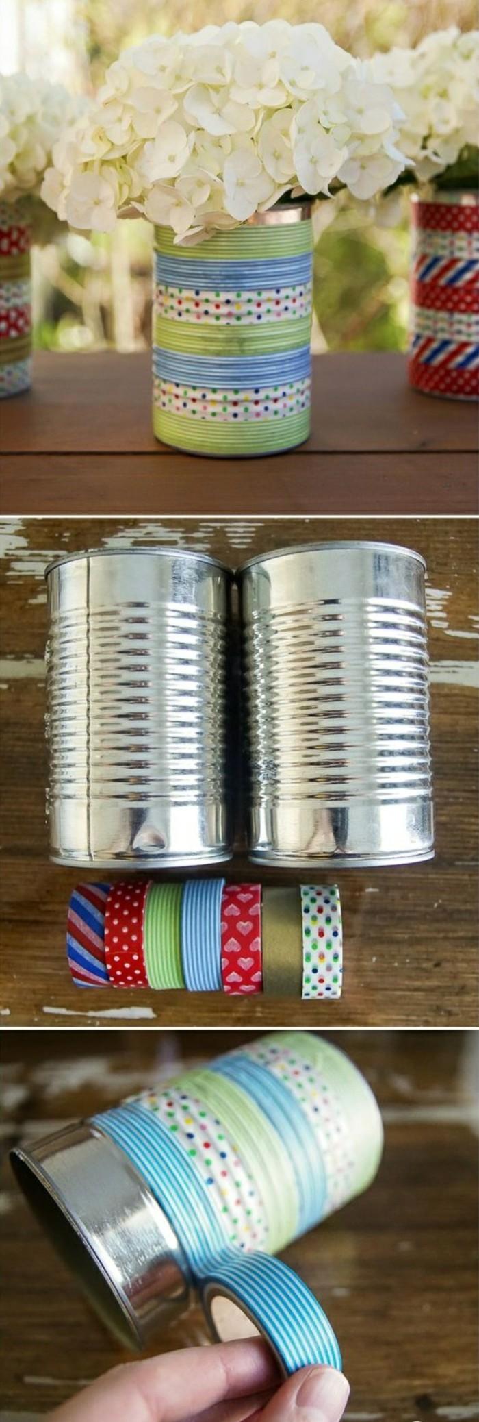 barattoli-latta-idea-decorazione-nastri-adesivi-colorati-riciclo-vaso-fiori