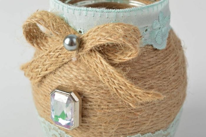 barattoli-vetro-decorati-stoffa-cotone-grezzo-pietra-brillante-fiocco-perla-argento
