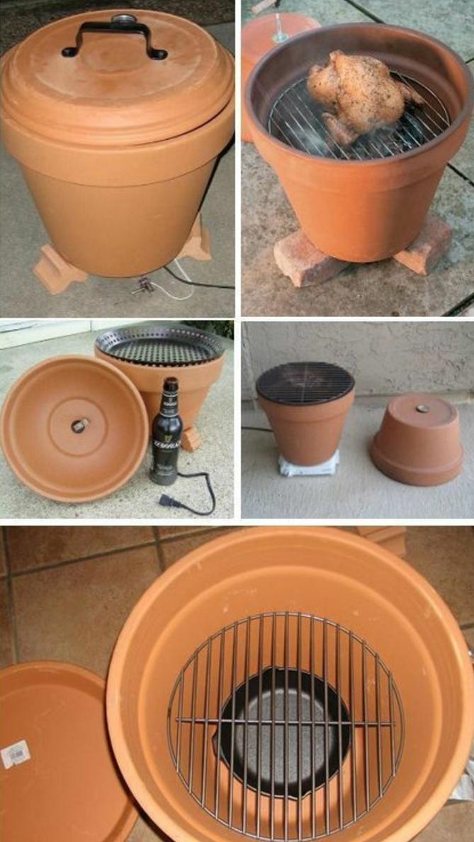 barbecue-fabbricato-fai-da-te-vaso-argilla-idea-interessante-diy-creativo-fare-carne-grigia