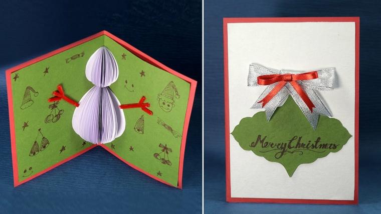 biglietti di natale fai da te, un'idea con un pupazzo di neve pop up con altre decorazioni a tema