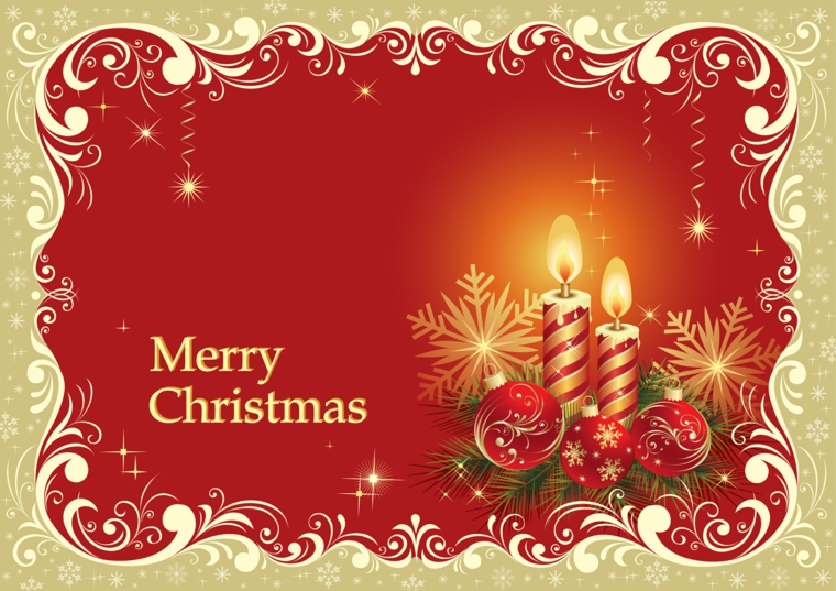 biglietti di auguri natalizi, un cartoncino oro e rosso con delle decorazioni natalizie fra cui delle candele e delle palline
