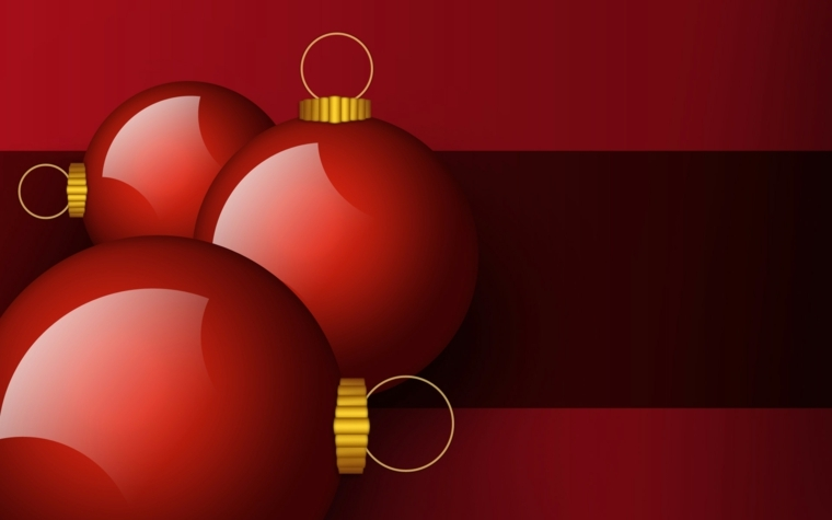 biglietti auguri di natale, un'idea elegante in rosso con tre palline in primo piano