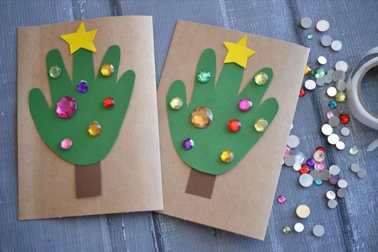 biglietti di natale fai da te, un mano trasformata in un albero con gemme e stella
