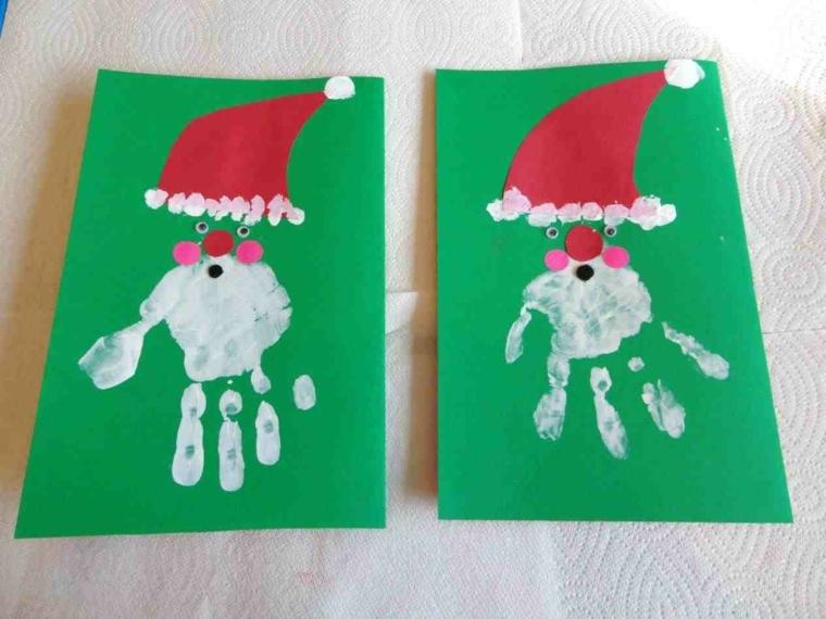 biglietti natale, un'idea da realizzare con i più piccoli con le impronte delle manine