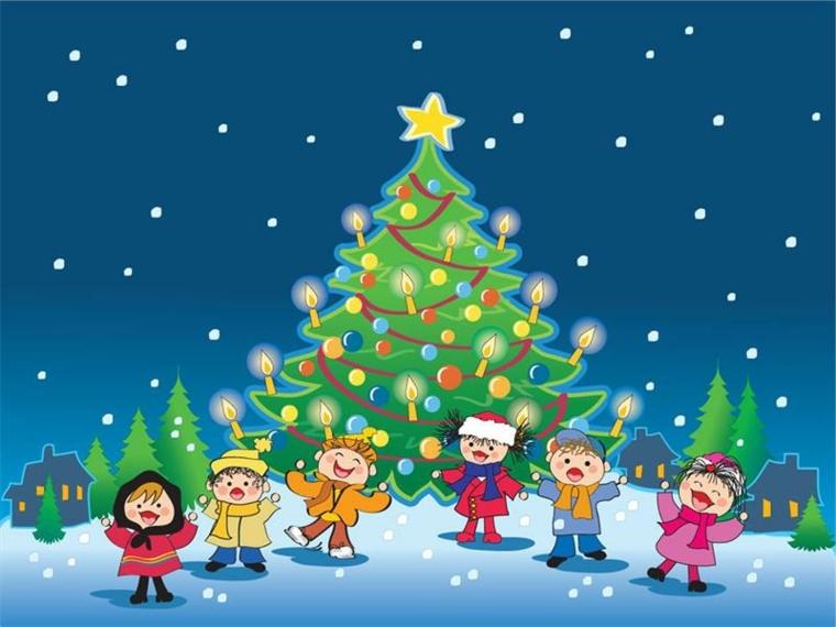 biglietti natale, un disegno grazioso con tanti bimbi, un albero addobbato e un cielo pieno di stelle