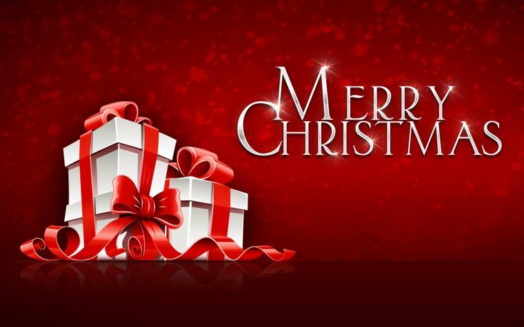 auguri natale, un'idea semplice ma ad effetto con tre grandi pacchi regalo bianchi con fiocco rosso