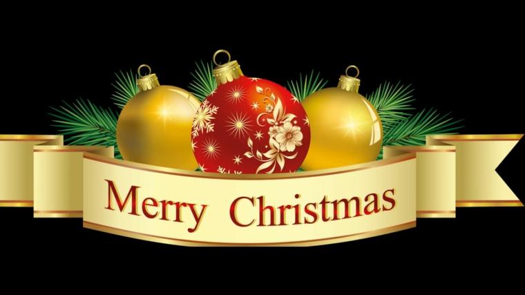 biglietti auguri, una fascia dorata con scritto merry christmas e delle palline decorative all'interno