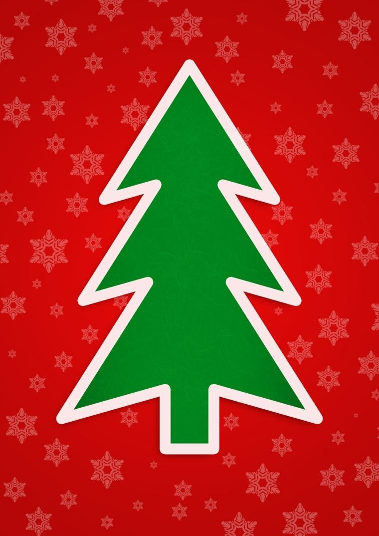 biglietti auguri natale, un'idea semplice ma di effetto con lo sfondo rosso e un albero verde in primo piano