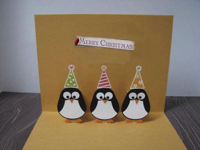 biglietti auguri natale, una proposta pop up con protagonisti dei simpatici pinguini