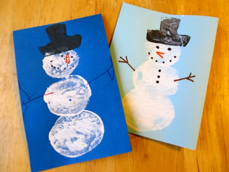 biglietti di natale da colorare, ecco due idee con i pupazzi di neve da realizzare insieme ai bambini