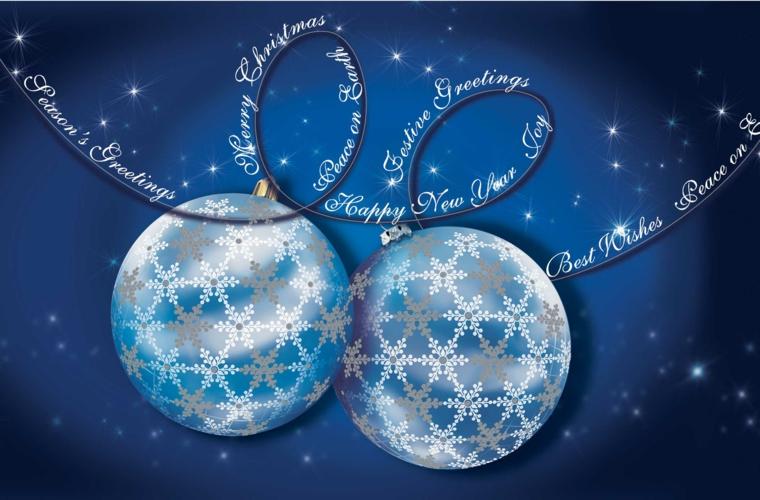 biglietti auguri, un'idea molto elegante con due palline blu e argento su sfondo blu