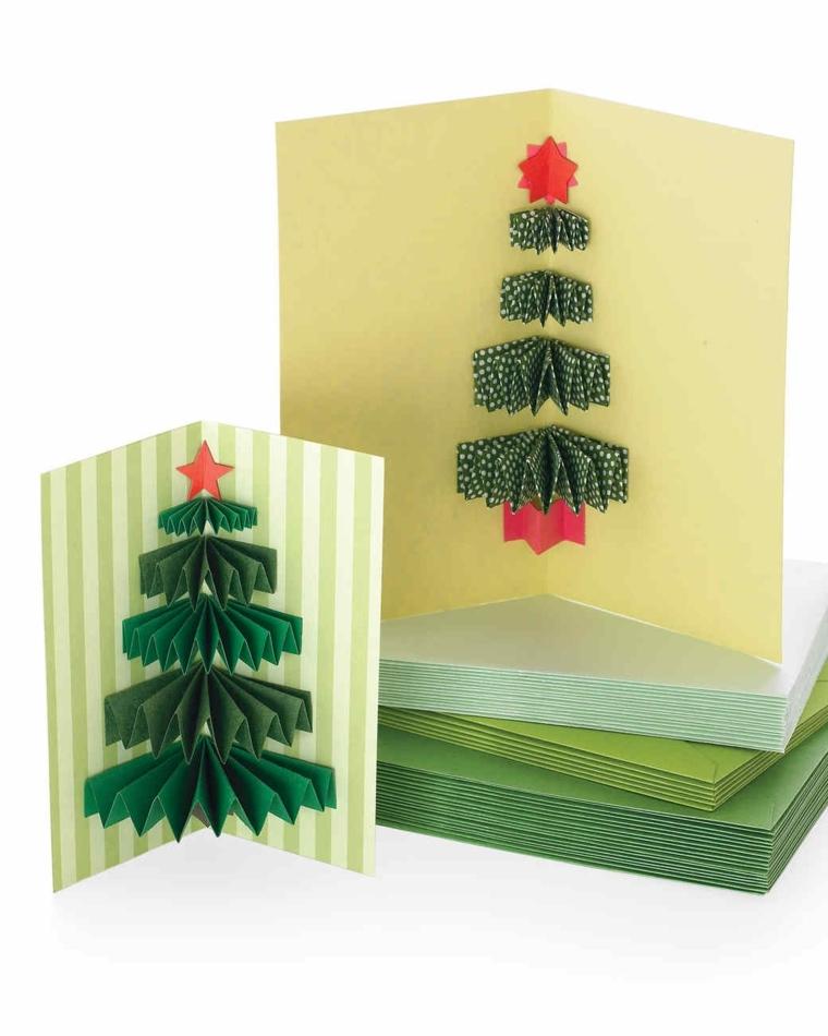 biglietti natalizi, due proposte con alberelli pop up facili da realizzare