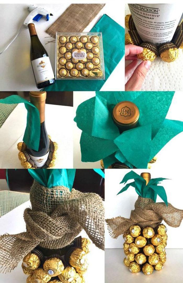 bottiglie-di-vino-personalizzate-idea-decorazione-ananas-cioccolatini-ferrero-rocher