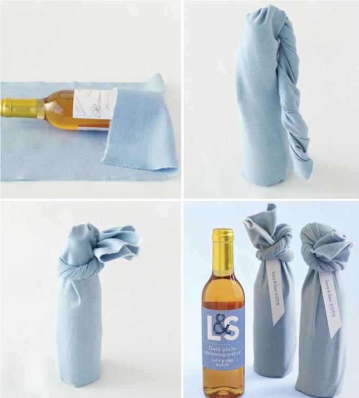 bottiglie-di-vino-personalizzate-stoffa-colore-viola-avvolgere-bottiglia-fare-nodo-legare