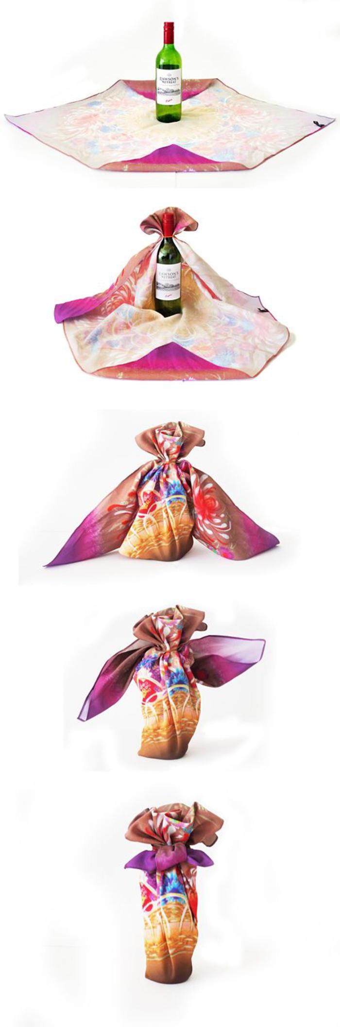 bottiglie-personalizzate-bottiglia-di-vino-rosso-decorata-avvolta-tovaglia-stoffa-colorata