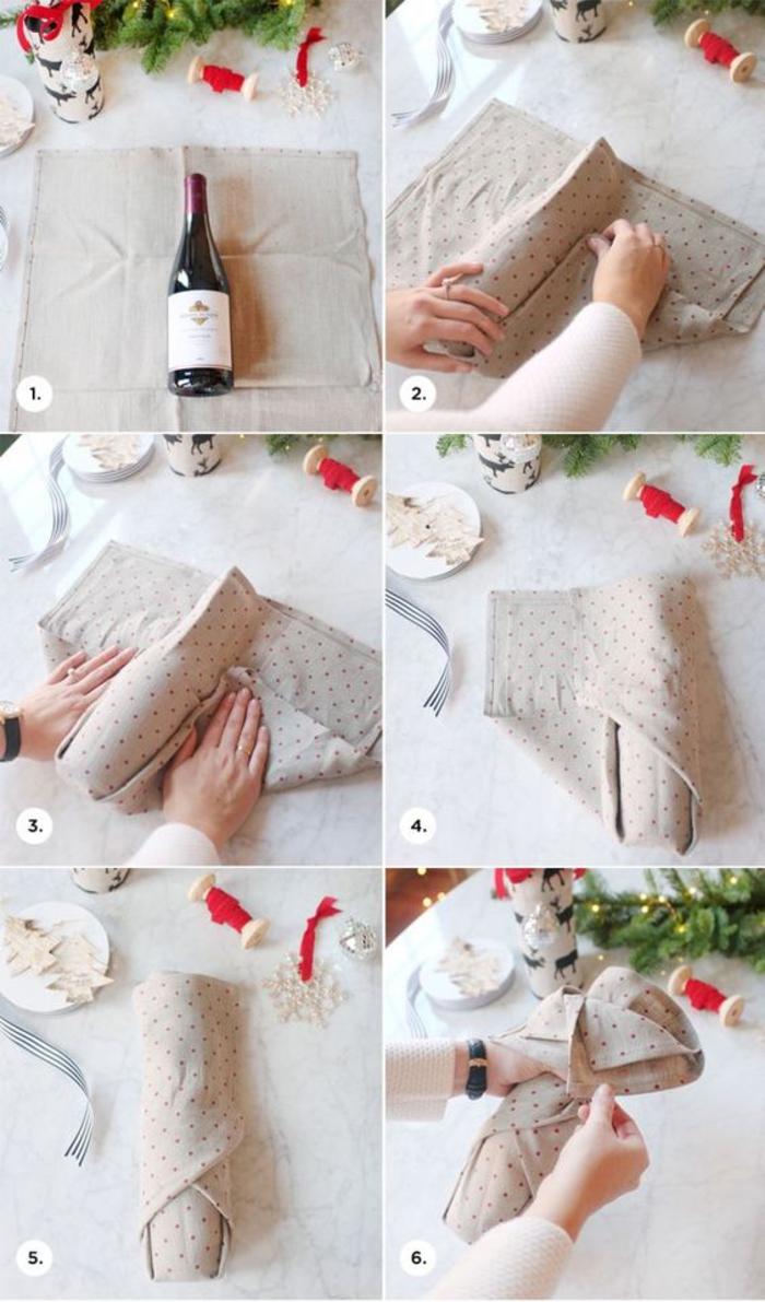 bottiglie-personalizzate-bottiglia-di-vino-rosso-tovagliolo-stoffa-colore-beige-fai-da-te-step-decorazioni-natalizie