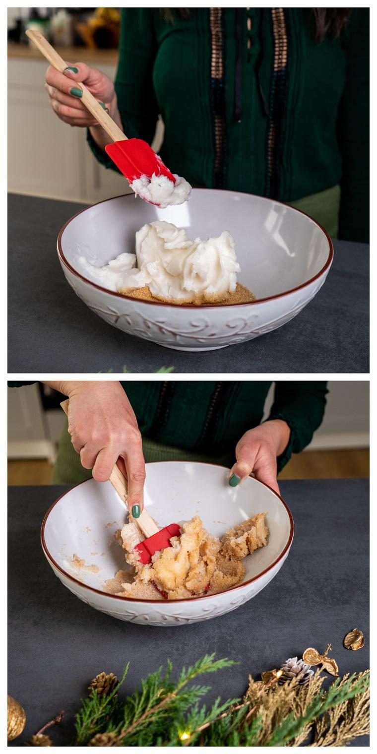 Ciotola con burro di cocco e zucchero, biscotti natalizi da regalare, ciotola con mestolo