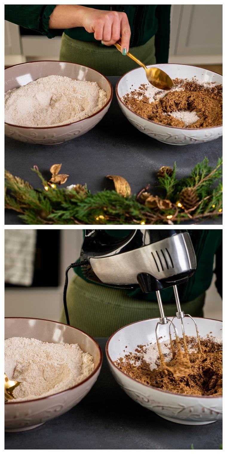 Unire la farina integrale e zucchero di cocco, mischiare con un mixer, ricetta biscotti natalizi