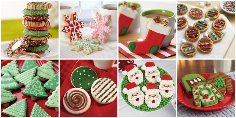 Diverse idee in un collage di foto con biscotti decorati a tema natalizio