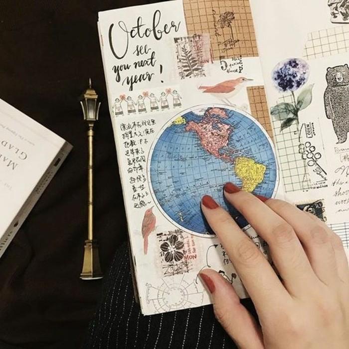 come-scrivere-un-diario-di-viaggio-incollare-foto-mappamondo-erbario-diegni-a-matita-bricolage