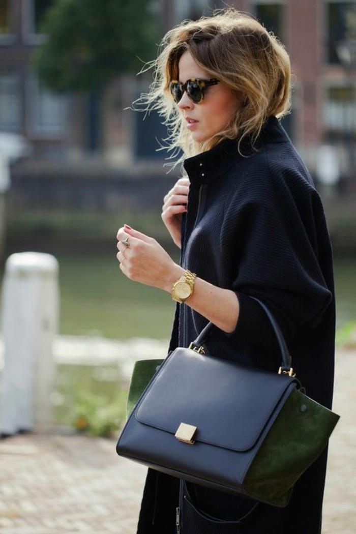 come-vestirsi-cappotto-nero-lungo-abbinato-borsa-nera-accessori-orologio-oro-occhiali-da-sole